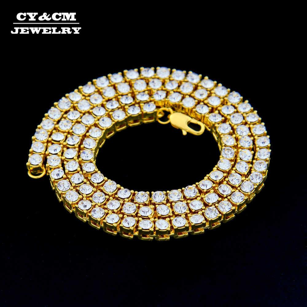 Mężczyźni Hip Hop Bling Iced Out tenis Choker długi łańcuch 1 rząd 5mm Rhinestone naszyjnik luksusowy srebrny złoty kolor biżuteria naszyjniki