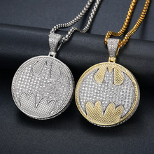 Men's Iced Out Batman Figure Pendant Necklaces Hiphop Bling Cubic Zircon Chains High Quality Gold Silver Jewelry Gifts(China)