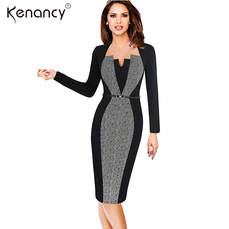 Kenancy 3XL Plus Size 2 Colors Belted Optical Illusion Patchwork
