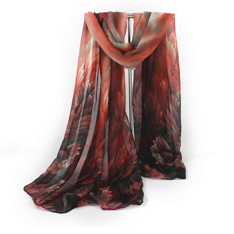 Moda nowa wiosna jesień zima miękka konstrukcja damski długi szal pozostawia wzór drukowania woal cienkie szale etole ciepłe szale