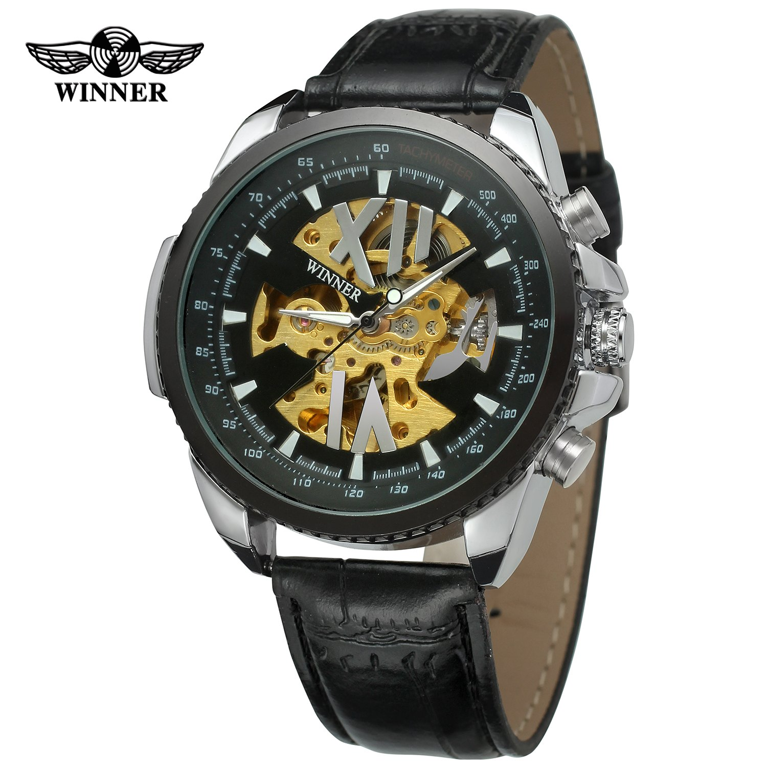 Top Brand Winner New Skeleton Watch Military Style Leather Strap Clock Men Gift Famouse Mechanical Automatic Wrist Watches