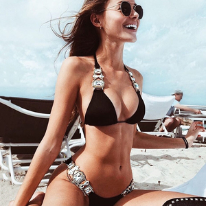 Image 2 - 2019 Rhinestone Swimsuit Women Bikinis Crystal Diamond Bikini Set Metal Chain Swimwear female Luxury Aristocratic Swimming Suit
