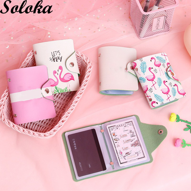 1 Pc Mini Card Holder Wallet Women Organizer Flamingo Photo Postcard