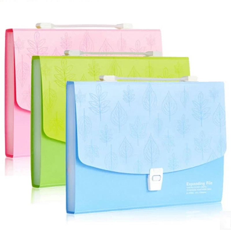 Free Shipping 13 Layers Document Bag File Folder Expanding Wallet Blue/Green/Pink Color Office Home School Filing Products a4 leather discolor manager file folder restaurant menu cover custom portfolio folders office portable pu document report cover