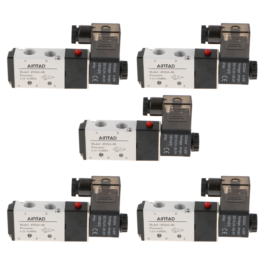 5pcs 4V210-08 Solenoid Valve 5 Way 2 Position Pneumatic Air-Operated 1/4 BSPT 24V