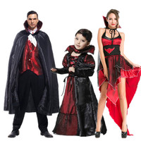 2016 Vampire Costume For Family Kid Adult Scary Costumes Women Queen Sexy Costumes Halloween Party Clothes