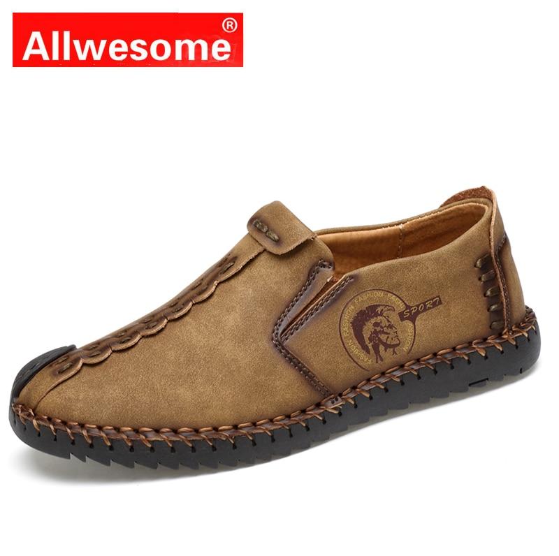 Allwesome Klassische Faulenzer Komfortable Men Casual Schuhe Qualität Split Leder Mokassins Schuhe Wohnungen Zapatos Hombre Große Größe 38-47 ZuverläSsige Leistung Herrenschuhe
