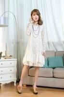 הורה דה אוונטורה תחרת וינטג 'לבן kawaii נצנצים dress היפי סרוג רקמת roupas femininas vestido רנקו חמוד לוליטה