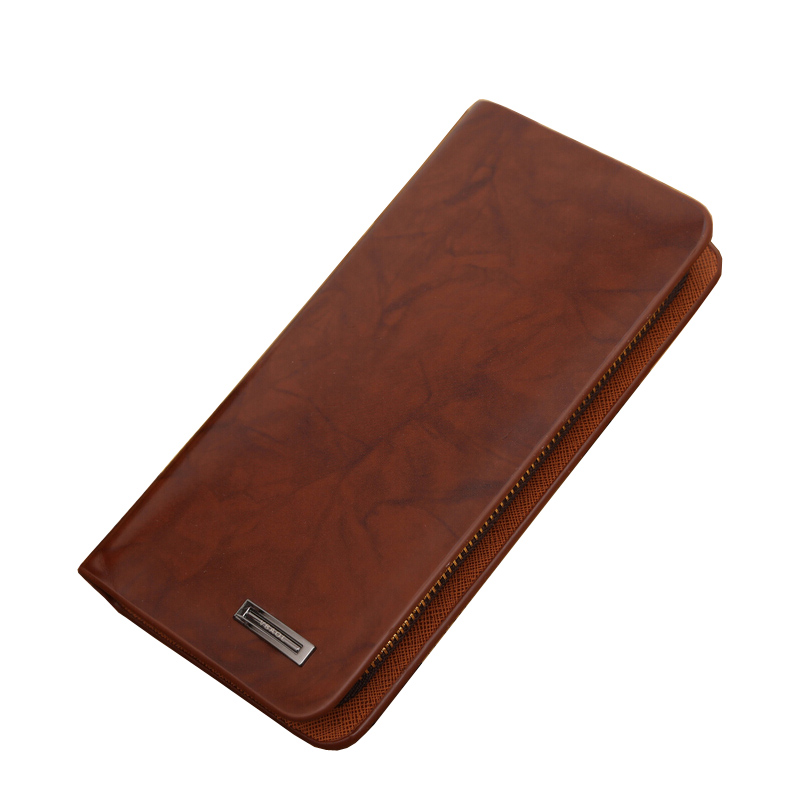 Wallet Purse Card-Holder Long-Style Quality Fashion Patent Men Zipper Casual Coffee Large-Capacity