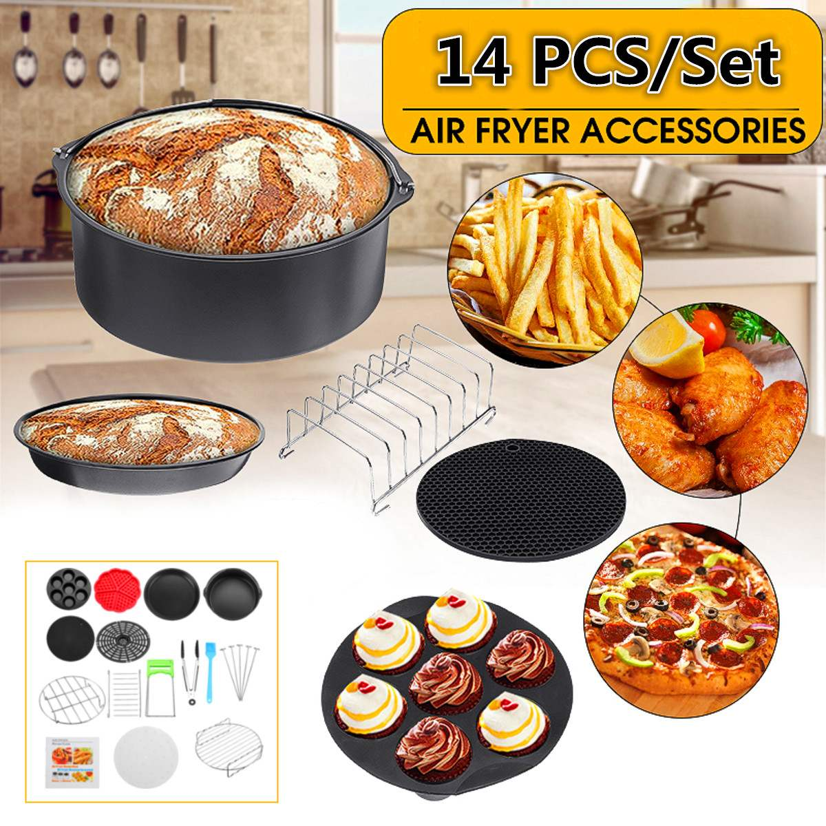 14pc/set High Quality Air Fryer Accessories Fit Air Fryer 5.3QT To 6.8QT Universal Deep Fryer Cake Barrel Pizza Pan Mat Skewer