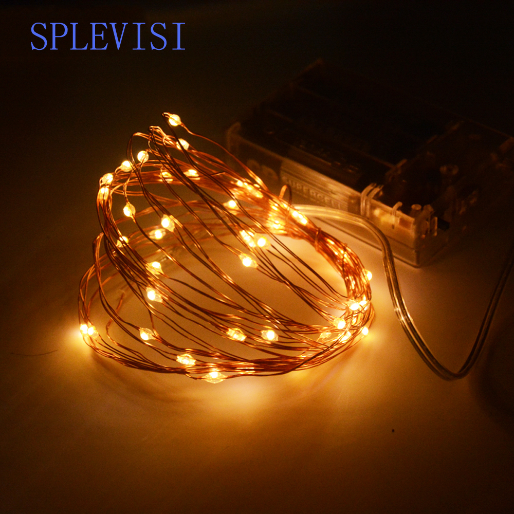 SPLEVISI 2M 3M 5M 10M Led Copper String Fairy Lights Garland Batteri Opereret Bryllupsfest Christmas Dekorativt Lys Indendørs