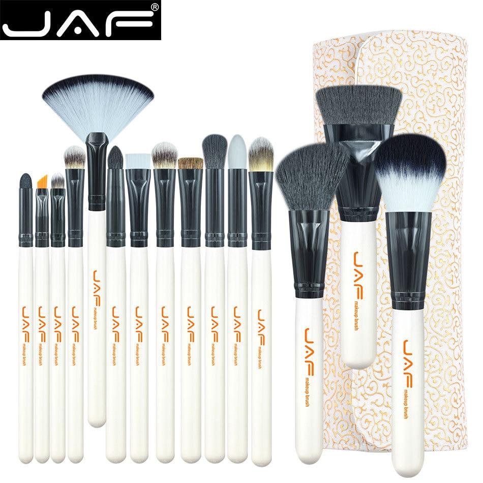 JAF Brand 15-piece Makeup Brushes Kit Multipurpose Super Soft Hair PU Leather Case Holder Make Up Brush Set цена 2017