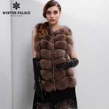 New Fashion Winter Lady Natural Fox Fur Vest Women's Real Genuine Fur Leather Jacket Overcoat Girl's Fox Fur Vest Coat