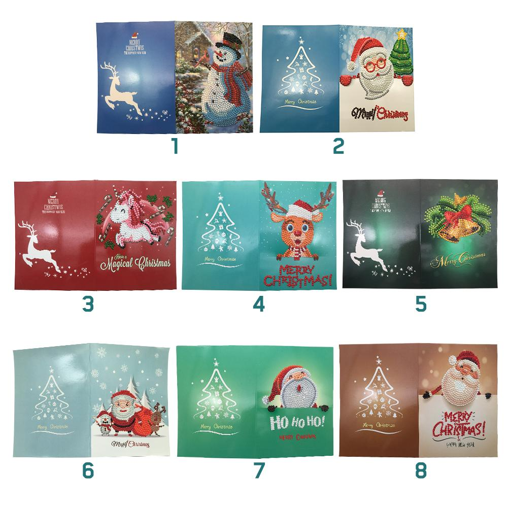 Diy Christmas Diamond Painting Festival Greet Card Cartoon Santa