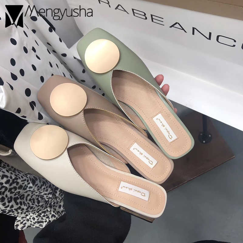 2019 Outdoor Quality mules women shoes metal decor slip on slides ladies wooden block heels summer slippers square toe flipflops