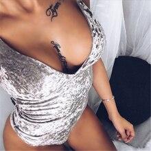 Sexy V Neck Backless Spaghetti Strap Velour Bodysuit