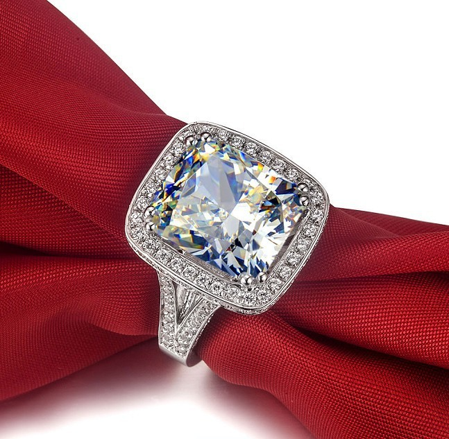 8CT Cushion Shape Synthetic Diamonds Engagement Ring 925 Silver
