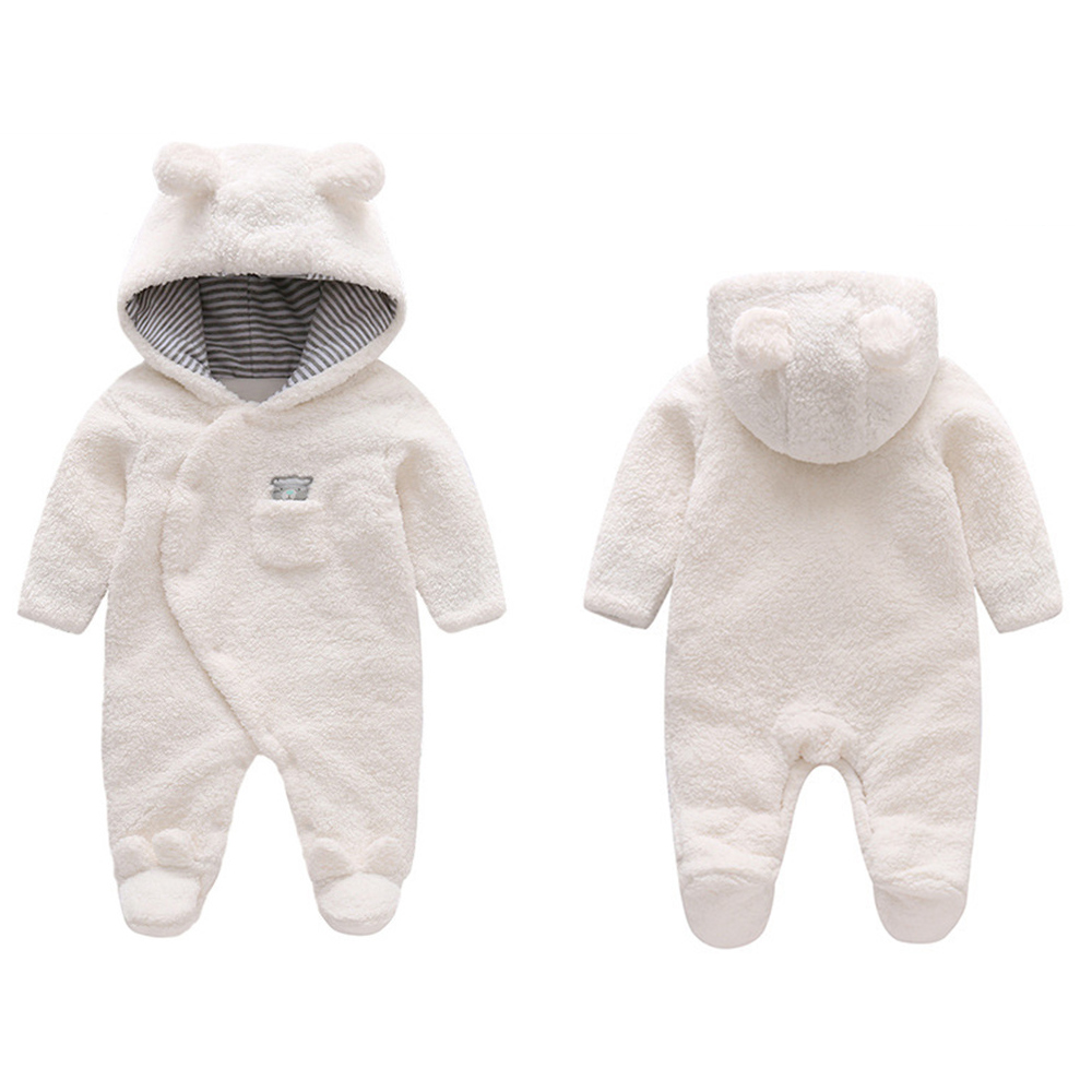 Baby Newborn Clothes Cute Cartoon Bear Baby Girl Boy Rompers Hooded Outfit Plush Jumpsuit Winter Overalls For Kids Roupa Menina retail 2015 winter new cute baby girl clothes black swan romper tutu dress kids cartoon clothes sets newborn outfit suits 4pcs