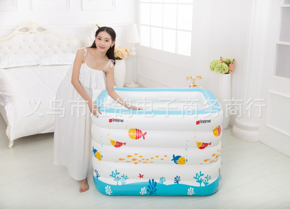 New born Baby Portable bath tub kid Inflatable Thickening Swimming ...