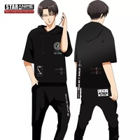 [STOCK] 2018 Anime Attack on Titan Levi Ackerman T shirt With Headset Cosplay Costume Unisex M XXL For Halloween Free Shipping.