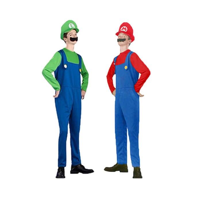 מבוגרים וילדים סופר מריו Bros Cosplay תלבושות סט ילדים ליל כל הקדושים המפלגה MARIO & LUIGI תלבושות לילדים מתנות