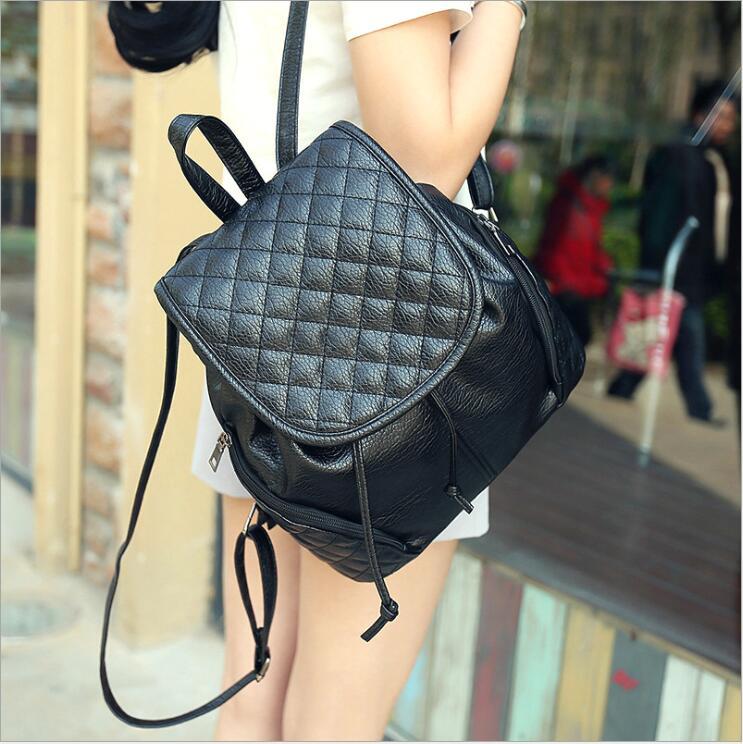 Femmes petit sac à dos PU + cuir. Adolescents sac à dos pour ordinateur portable femme sacs à provisions dame filles Packbag femmes voyage Pack sacs