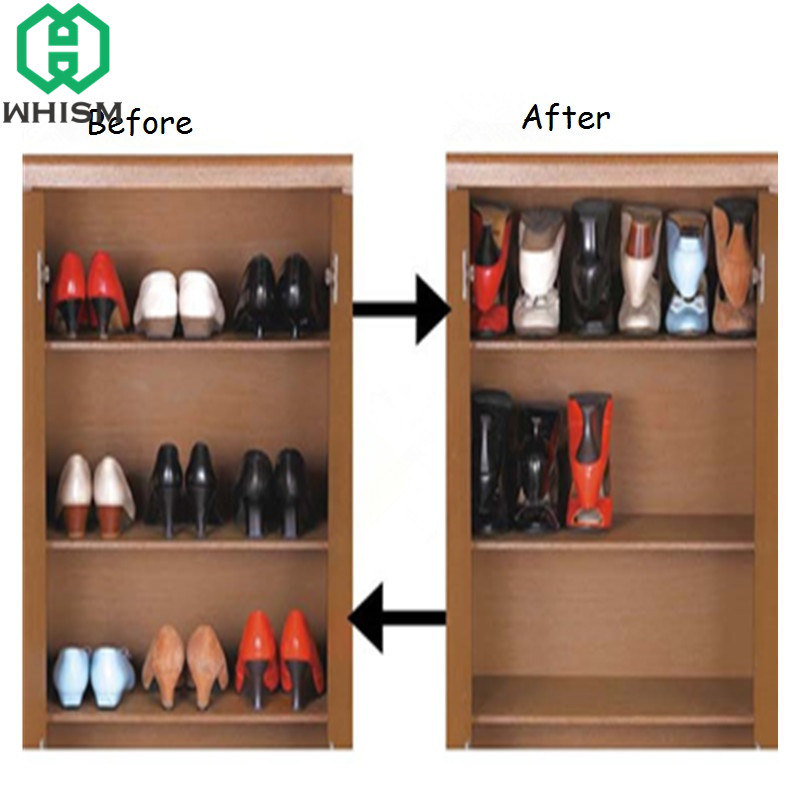 Aliexpress.com : Buy WHISM Plastic Z Shape Double Shoe Rack Living Room  Space Saving Foldable Storage Shoes Organizer Stand Shelf Rack Chaussure  From ...