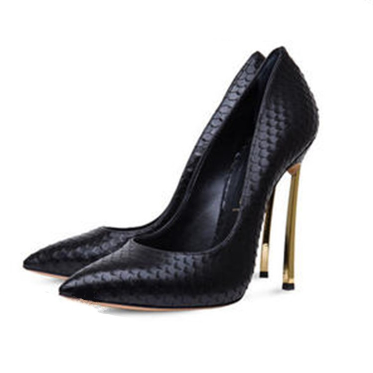 High Heels Women Pumps Pointed Toe Leather Women Dress Shoes Wedding Shoes Metal Thin Heels Sexy Lady Classic Pumps Black hot sale women pumps 2017 women shoes transparent leather high heels sexy pointed toe slip on wedding shoes dress shoes for lady
