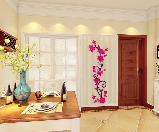 2019 DIY Vase Flower Tree Crystal Arcylic 3D Wall Stickers Decal Home Decor Naklejki Dekoracyjne 3d Wall Sticke Adesivo 3