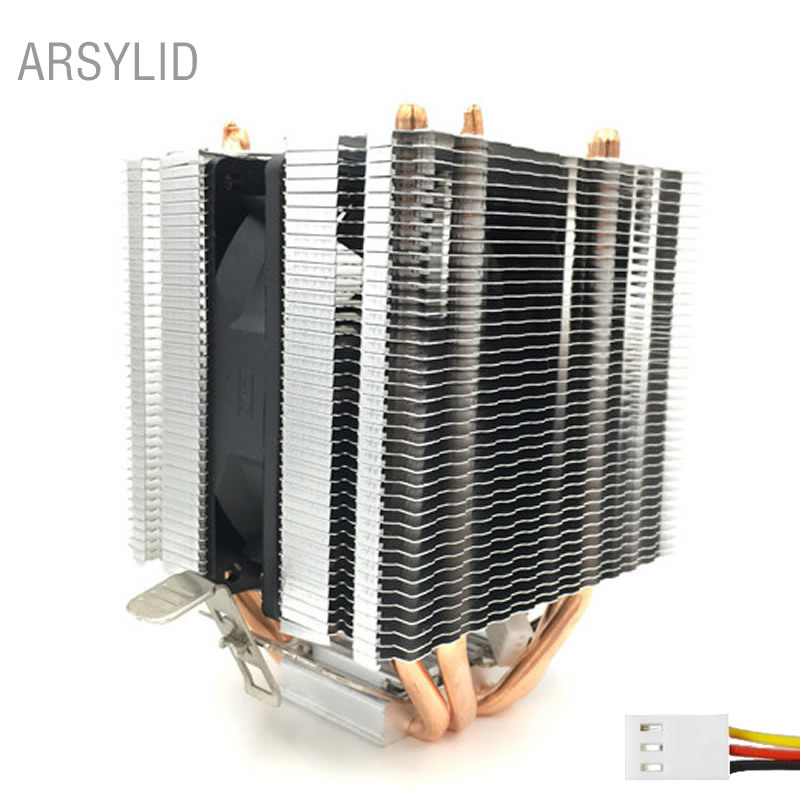 ARSYLID 3PIN 4 heat pipes CPU cooler 9cm cooling fan for Intel LGA775 1151 1366 2011 Cooling for AMD AM3 AM4 radiator fan 3pin 12v cpu cooling cooler copper and aluminum 110w heat pipe heatsink fan for intel lga1150 amd computer cooler cooling fan