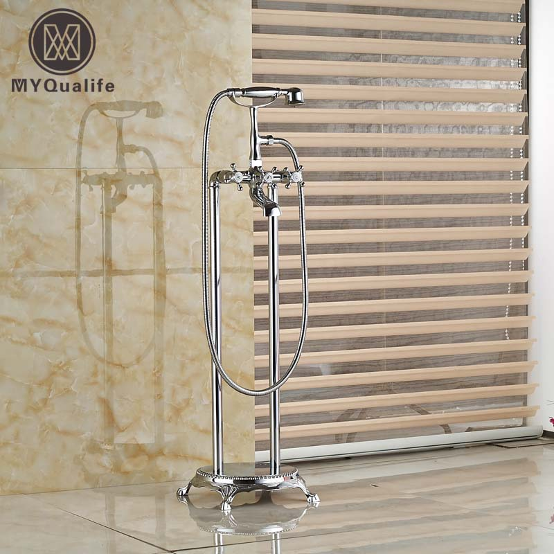 Bathroom Solid Brass Floor Standing Tub Shower Faucet Set with Hand Shower Dual Handles Bathtub Filler bathtub faucet solid brass luxury floor standing bathroom bathtub faucet antique dual handle with handheld shower crane hj 6051