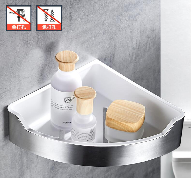 glue style rack bathroom real 304 and ABS material corner shelves,bathroom accessories no need drill-in Bathroom Shelves from Home Improvement    1