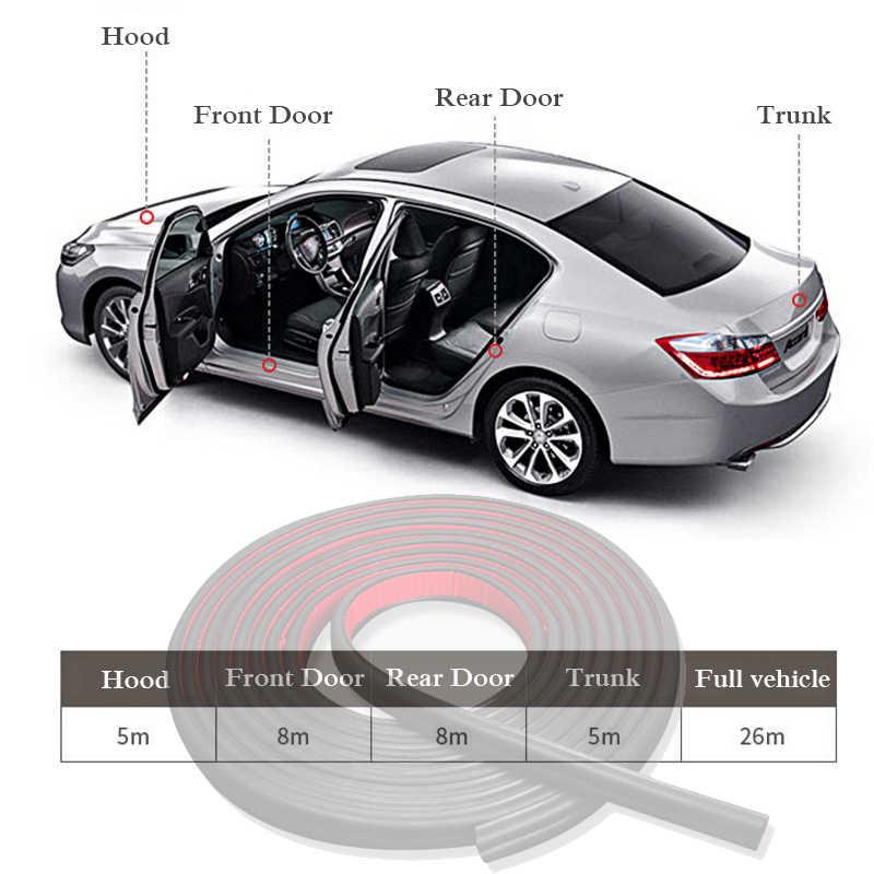 Car Styling B Type 5m 10m Door Seal Car Sound Insulation Car Door Sealing Strip Rubber Weatherstrip Edge Trim Noise Insulation