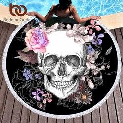 BeddingOutlet сахарный череп круглый пляжное Полотенца Цветочные кисточкой гобелен розовый и черный Коврик для йоги цветок Готический Toalla Одеяло...