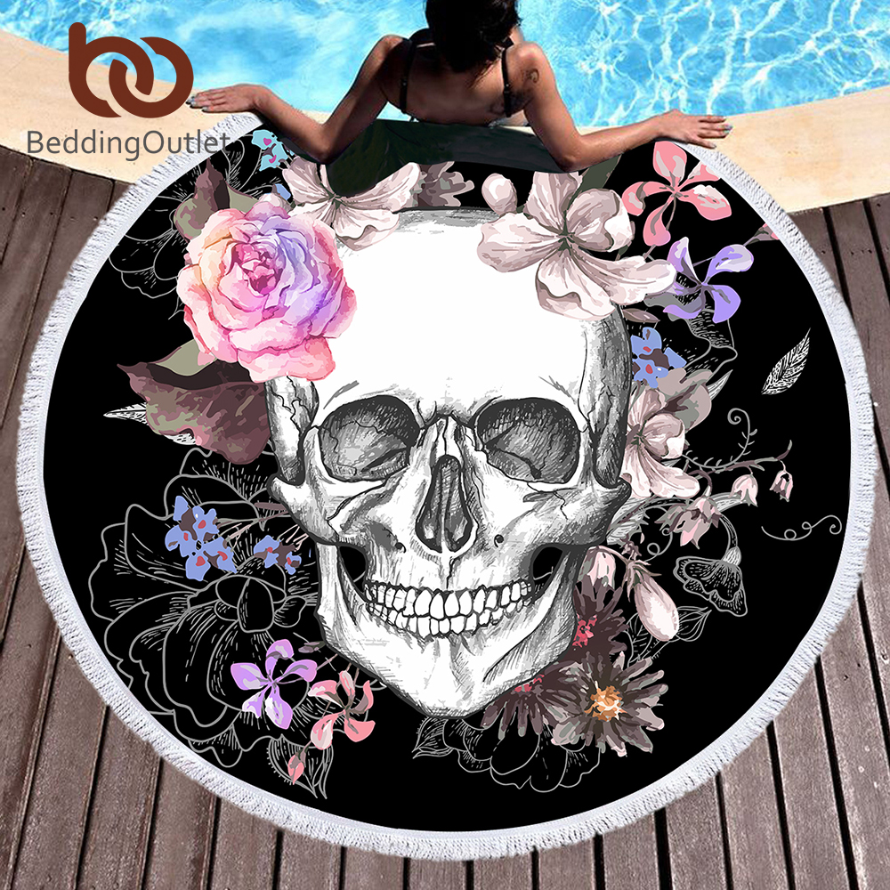 BeddingOutlet Sugar Skull Round Beach Towel Floral Tassel Tapestry Pink and Black Yoga Mat Flower Fashion Toalla Blanket 150cm ...