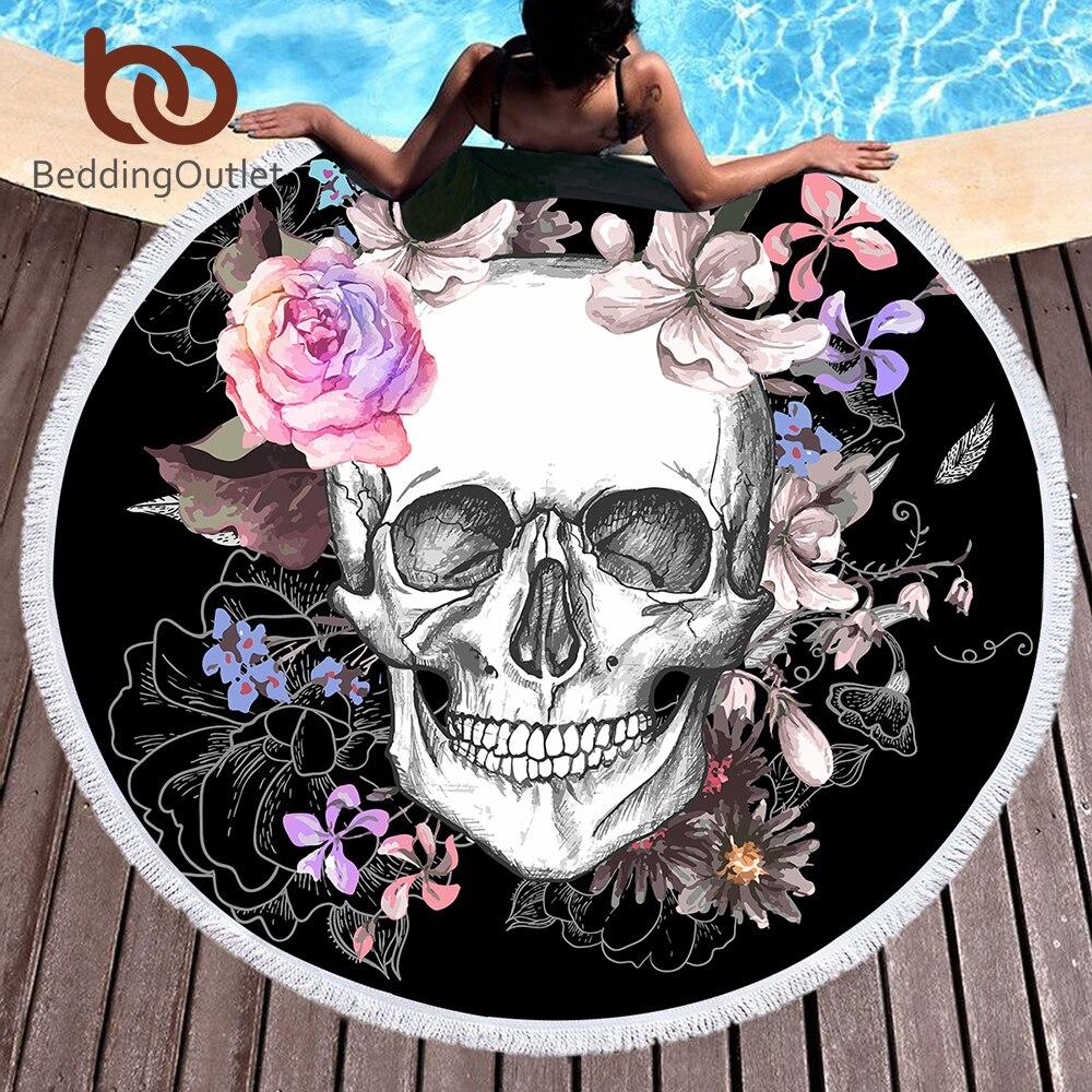 BeddingOutlet azúcar cráneo redondo Toalla de playa Floral Tassel tapicería rosa y negro estera de Yoga flor gótico Toalla manta 150 cm