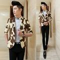 Diseños bleiser masculino 2015 primavera traje de chaqueta delgada sola chaqueta breasted patchwork juego de la manga masculina blaser masculino