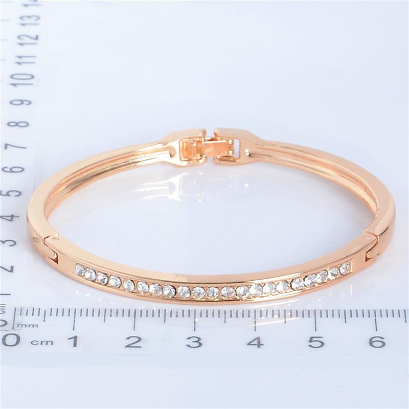 SHUANGR Fashion Rose Gold Color Jewelry Austrian Crystal Classic Lady's Closed Bangle Bracelets, Women's Bracelet 12