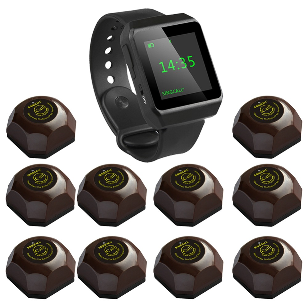 SINGCALL Wireless Coffee Calling System, restaurant guest pagers,aid call,1 Watch with 10 Buttons for Hotel Cafe Bar Restaurant wireless call system vibrating watch pagers call button restaurant bell 433 92mhz restaurant full set 1 watch 10 call button