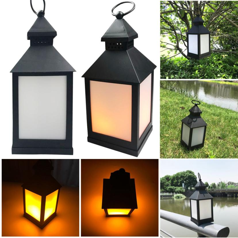 MUQGEW Waterproof Outdoor Hanging LED Light Flickering Lamp Garden Wall Carriage Decor Hook Lamp Warm White Landscape Solar LED
