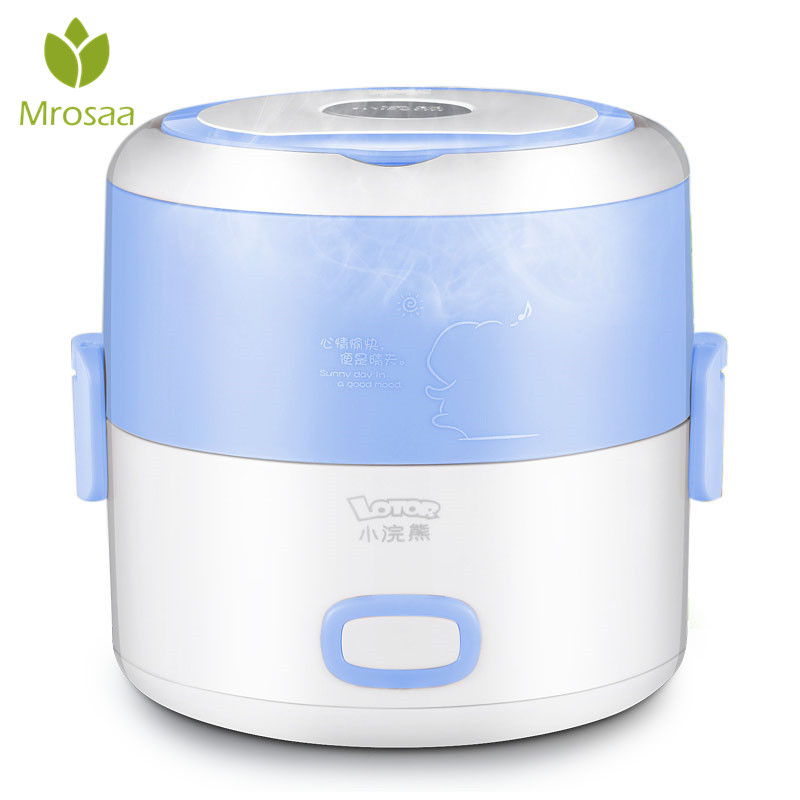 KCASA 1Pc 1.2L Electric Heating Lunch Case Mini Rice Cooker Stainless Steel Liner Portable Steamer Food Container Thermal Boxes