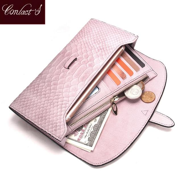 Роскошный брендовый Женский кошелек из натуральной кожи, дамские сумочки, розовый кошелек с тиснением под змеиную кожу, дизайнерская длинная сумочка на защелке для мобильного телефона, держатель для карт