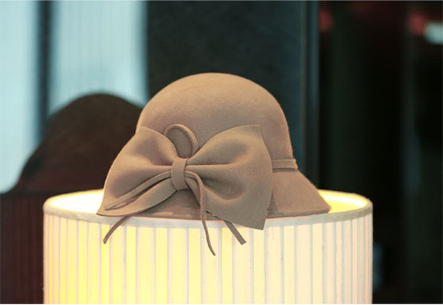 Lima new  Colors woman Big basin Bowler black hat   Vara bow  Adjustable Hat  4 color Fedora