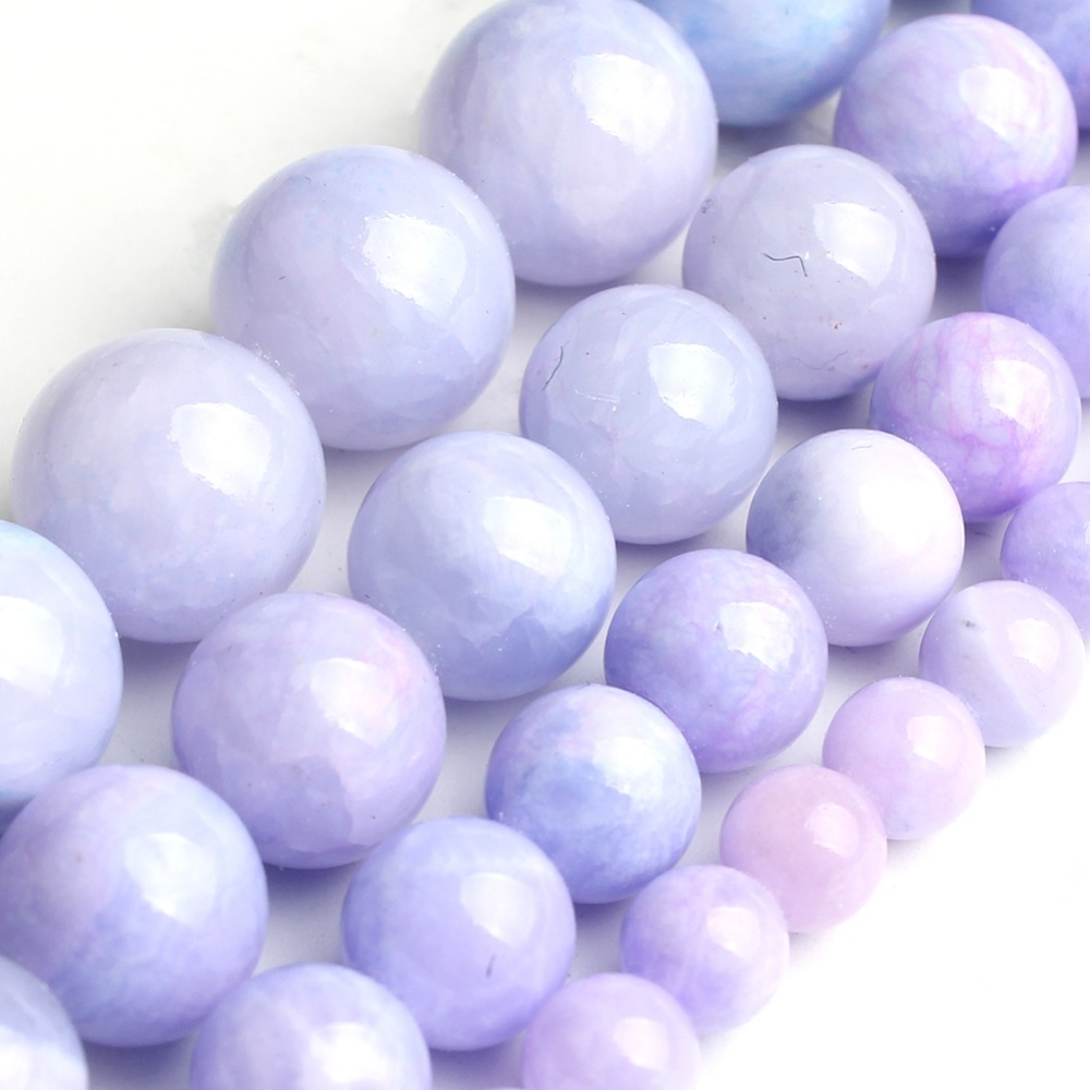 Natural Purple Jade Gemstone Beads For Jewelry Making DIY Bracelet Necklace Earring Round Loose Spacer Size 6/8/10/12mm 15inches