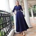 Vestido de moda de alta calidad 2016 del diseñador de la vendimia de primavera maxi dress mujeres largo dress otoño invierno dress