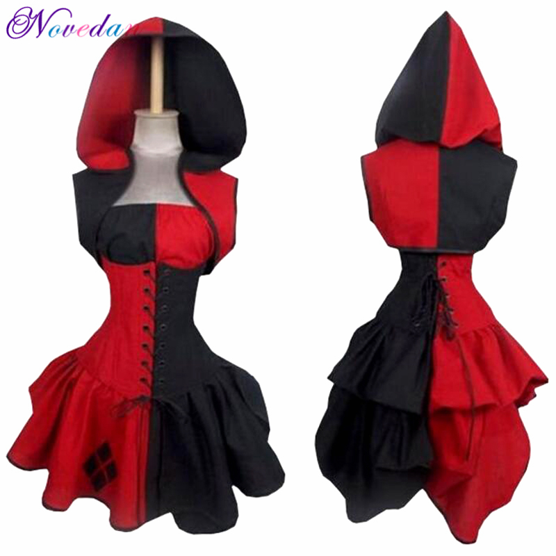 Sexy Halloween Costume For Women Plus Size Suicide Squad Harley Quinn Cosplay Costume Retro Renaissance Medieval Dresses