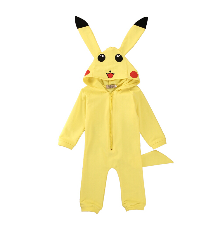 Newborn Baby Girl Boy Clothes Rompers Long Sleeve Cotton Jumpsuit Outfits Infant Kids Boys Girls Costume Pokemon Pikachu Child baby rompers 2016 spring autumn style overalls star printing cotton newborn baby boys girls clothes long sleeve hooded outfits