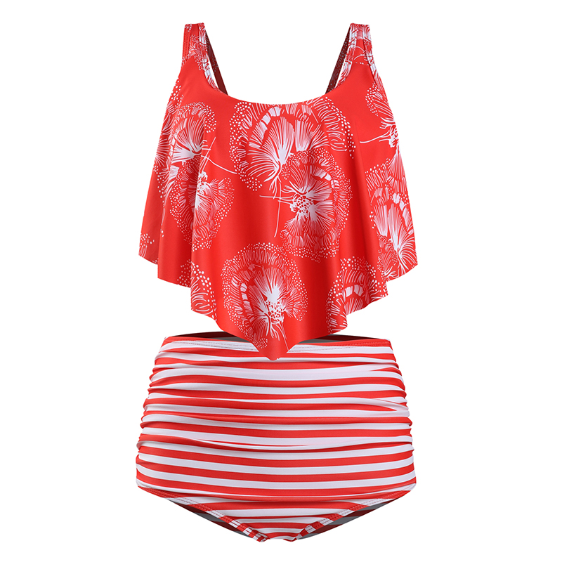 HTB1rjKgX3mH3KVjSZKzq6z2OXXa5 High Waist Swimsuit 2019 Sexy Bikinis Women Swimwear Ruffle Vintage Bandeau Striped Bottom Bikini Set Bathing Suits