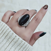 SINLEERY винтажные кольца с большим черным опалом и камнем для женщин, размер 6, 7, 8, 9, 10, серебряное кольцо, ювелирные изделия для свадебной вечеринки JZ512