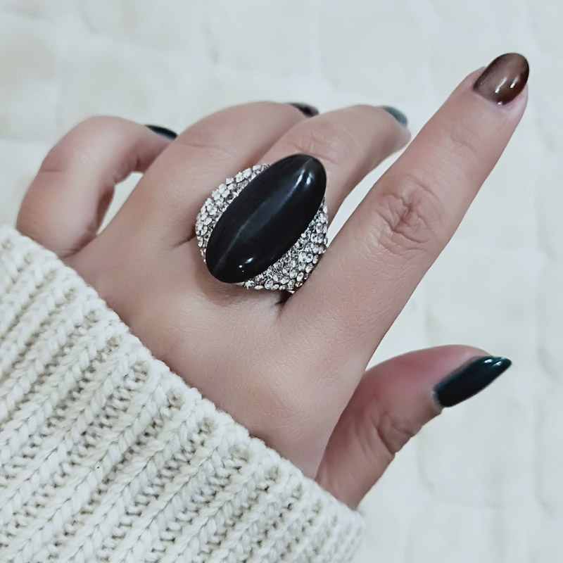 SINLEERY Vintage Big Black Opal Stone Shuttle Rings For Women Size 6 7 8 9 10 Silver Color Ring Wedding Party Jewelry JZ512